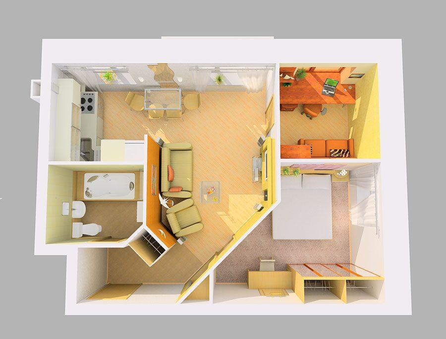 Дизайн двухкомнатная квартира для семьи с ребенком
